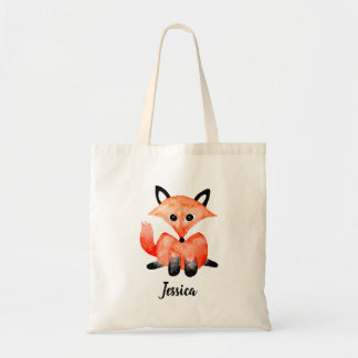Tote Bag Fox de bébé de forêt de région boisée d'aquarelle