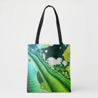 Tote Bag fractale abstraite de vert de conception