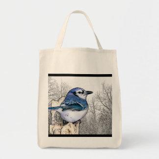 Tote Bag Geai bleu dessinant Fourre-tout