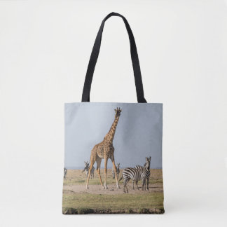 Tote Bag Girafe et zèbres par un point d'eau