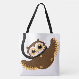 Tote Bag Grand - hibou intelligent mignon d'animal familier