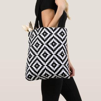 Tote Bag Grands noir et blanc de motif de bloc aztèque de