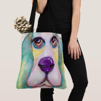 Tote Bag Grands yeux d'aquarelle de chien coloré de Basset
