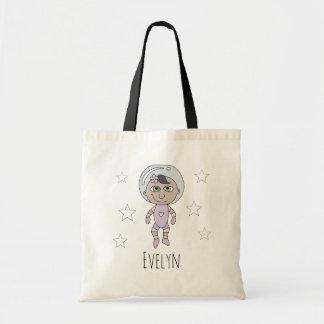 Tote Bag Griffonnage et nom féministes d'astronaute de bébé