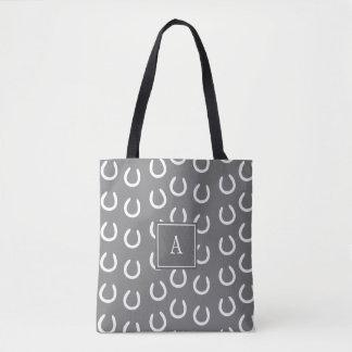 Tote Bag Gris de monogramme de chaussure de cheval