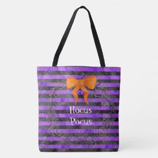Tote Bag Guirlande de rayures de Halloween d'aquarelle