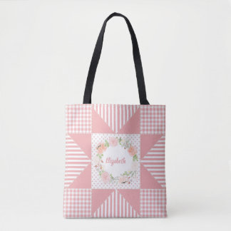 Tote Bag Guirlande rose Girly et nom de rose d'édredon