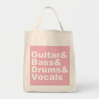Tote Bag Guitar&Bass&Drums&Vocals (blanc)