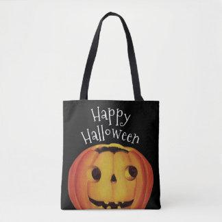 Tote Bag Halloween démodé, citrouille (le feu follet)
