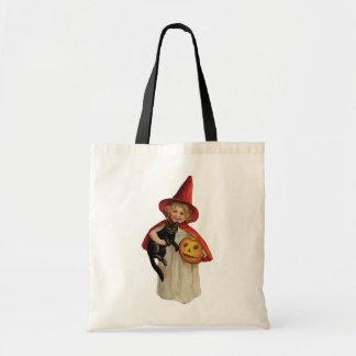 Tote Bag Halloween démodé, fille de sorcière avec le chat