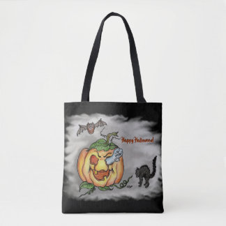 Tote Bag Halloween heureux avec le citrouille de batte de