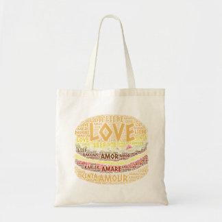 Tote Bag Hamburger illustré avec le mot d'amour
