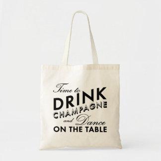 Tote Bag Heure de boire Champagne et de danser sur le noir