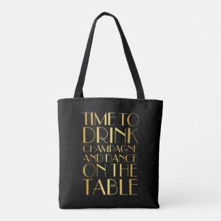 Tote Bag Heure de boire Champagne Fourre-tout - or