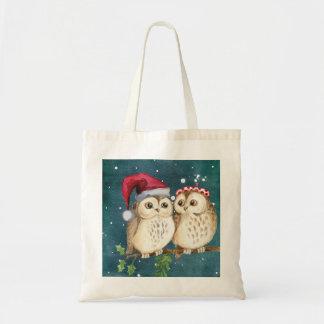 Tote Bag Hiboux de Noël sur la branche la nuit