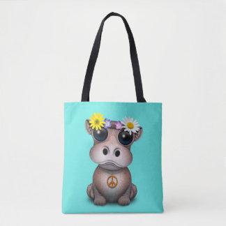 Tote Bag Hippie mignonne d'hippopotame de bébé