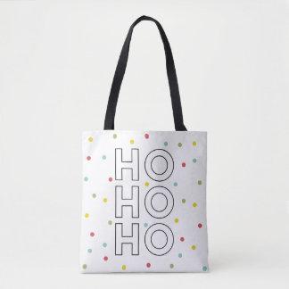 Tote Bag Ho Ho Ho les confettis colorés pointillent des