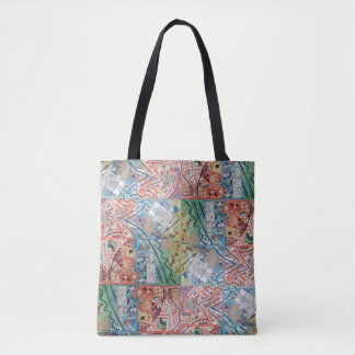 Tote Bag Horloge de mosaïque de patchwork d'art de Phoenix