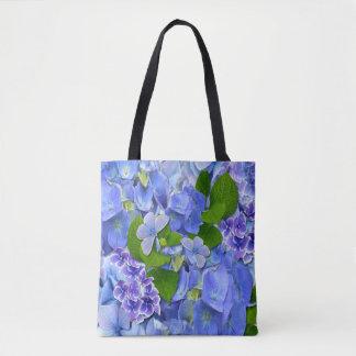 Tote Bag Hortensias et papillons bleus