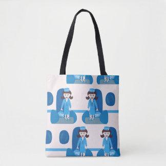 Tote Bag Hôtesse bleue élégante d'années '60
