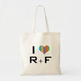 tote bag I R love + F