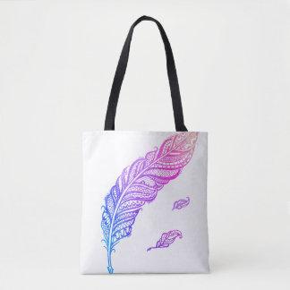 Tote Bag Illust complexe énervé et chic coloré de plume de