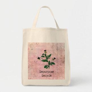 Tote Bag Illustration botanique d'alto vintage rose