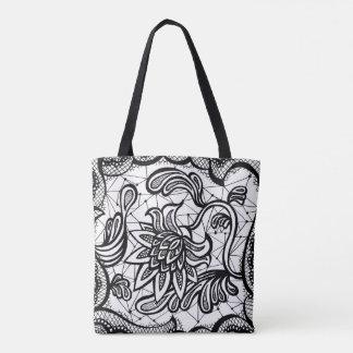 Tote Bag Illustration complexe énervée et chic de fleur de