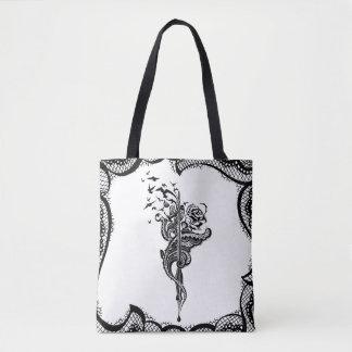 Tote Bag Illustration énervée de stylo, rose et d'oiseaux