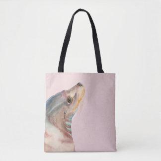 Tote Bag Illustration paresseuse d'aquarelle d'otarie du
