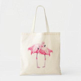 Tote Bag Illustration rose de flamants d'aquarelles