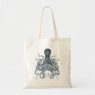 Tote Bag Illustration vintage de poulpe de gris bleu
