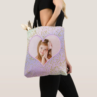 Tote Bag Image en pastel de photo de coeur de parties