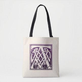 Tote Bag Initiale celtique de noeud - A - pourpre