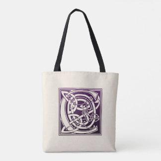 Tote Bag Initiale celtique de noeud - C - pourpre