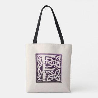 Tote Bag Initiale celtique de noeud - F - pourpre