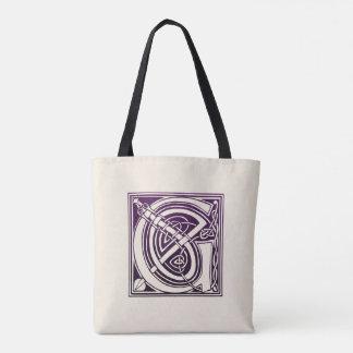 Tote Bag Initiale celtique de noeud - G - pourpre
