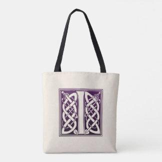 Tote Bag Initiale celtique de noeud - I - pourpre