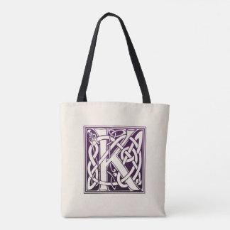 Tote Bag Initiale celtique de noeud - K - pourpre
