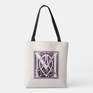 Tote Bag Initiale celtique de noeud - M - pourpre