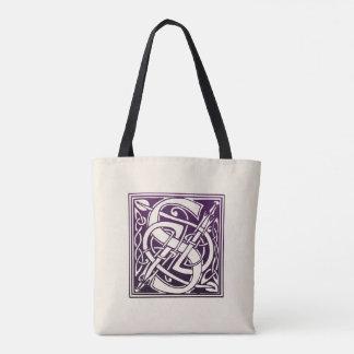 Tote Bag Initiale celtique de noeud - S - pourpre