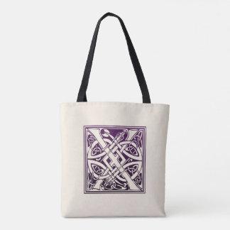 Tote Bag Initiale celtique de noeud - X - pourpre