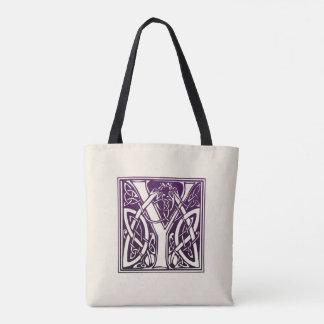 Tote Bag Initiale celtique de noeud - Y - pourpre