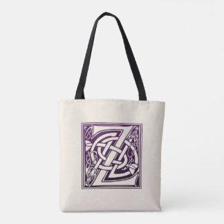 Tote Bag Initiale celtique de noeud - Z - pourpre