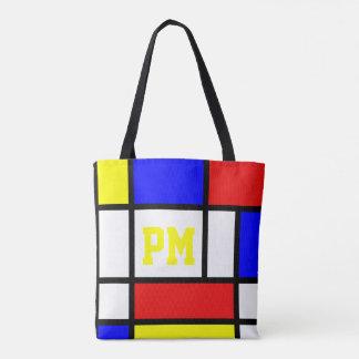 Tote Bag Initiales lumineuses modernes de style d'art de