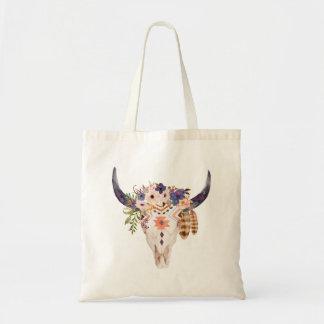 Tote Bag Inscriptions tribales et fleurs de crâne de vache