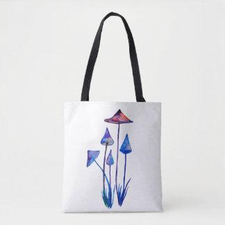 Tote Bag Insigne rond d'art d'aquarelle de champignons