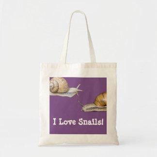 Tote Bag J'aime la conception d'escargot d'escargots