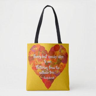 Tote Bag J'aime le coeur Automne-Rouge 1, citation de