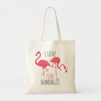 Tote Bag J'aime les flamants roses texte et l'illustration